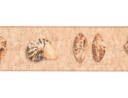 Prepasted Wallpaper Borders - Conch Shell Wall Paper Border RY3310B