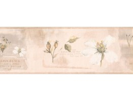 7 in x 15 ft Prepasted Wallpaper Borders - Floral Wall Paper Border RY3386B