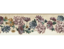 6 1/2 in x 15 ft Prepasted Wallpaper Borders - Floral Wall Paper Border SA75752DW
