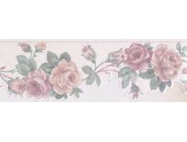 Prepasted Wallpaper Borders - Floral Wall Paper Border SA75777DW