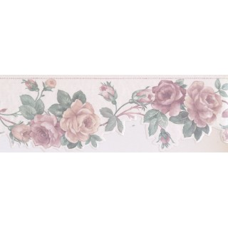 6 1/2 in x 15 ft Prepasted Wallpaper Borders - Floral Wall Paper Border SA75777DW