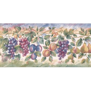 9 1/4 in x 15 ft Prepasted Wallpaper Borders - Fruits Wall Paper Border SC028113B