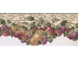 8 1/2 in x 15 ft Prepasted Wallpaper Borders - Fruits Wall Paper Border SC028153B