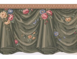 Prepasted Wallpaper Borders - Curtains Wall Paper Border SF76144B