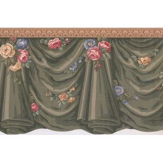 12.5 in x 15 ft Prepasted Wallpaper Borders - Curtains Wall Paper Border SF76144B