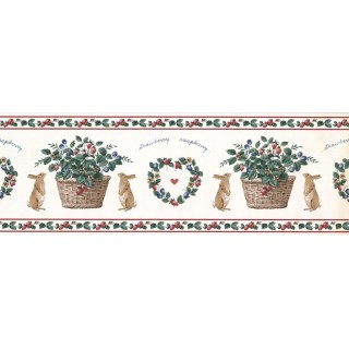 7 in x 15 ft Prepasted Wallpaper Borders - Rabbit and Fruits Wall Paper Border SG2121B