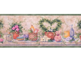 8 in x 15 ft Prepasted Wallpaper Borders - Bathroom Wall Paper Border SI37222B