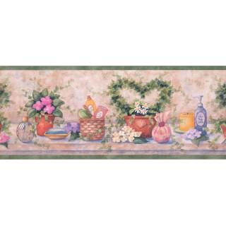 8 in x 15 ft Prepasted Wallpaper Borders - Bathroom Wall Paper Border SI37222B