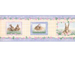 Prepasted Wallpaper Borders - Rabbits Wall Paper Border SM515B