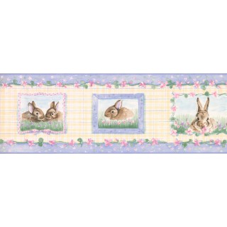 7 in x 15 ft Prepasted Wallpaper Borders - Rabbits Wall Paper Border SM515B