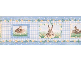 7 in x 15 ft Prepasted Wallpaper Borders - Rabbits Wall Paper Border SM516B