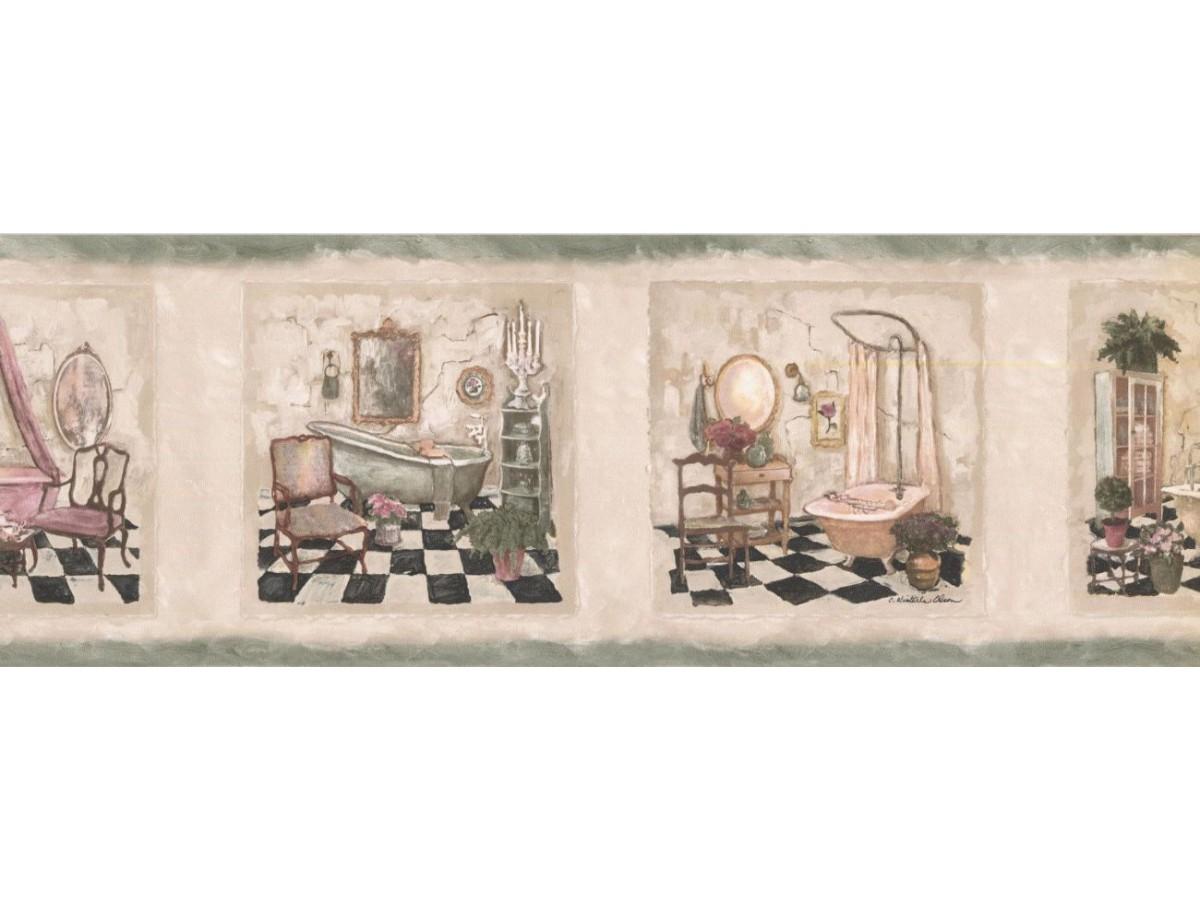 Bathroom Wallpaper Border Sp76478