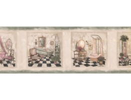 Prepasted Wallpaper Borders - Bathroom Wall Paper Border SP76478