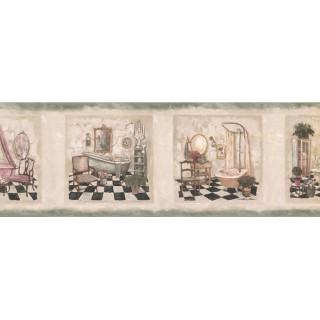 7 in x 15 ft Prepasted Wallpaper Borders - Bathroom Wall Paper Border SP76478