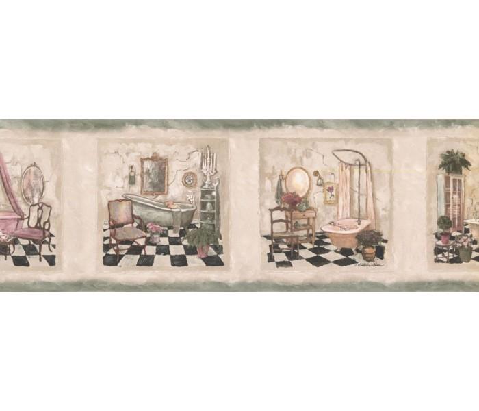 Bathroom: Bathroom Wallpaper Border SP76478