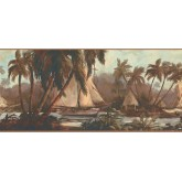 New  Arrivals Wall Borders: Palm Tree Wallpaper Border TG2108B