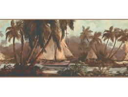 Prepasted Wallpaper Borders - Palm Tree Wall Paper Border TG2108B