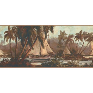 9 in x 15 ft Prepasted Wallpaper Borders - Palm Tree Wall Paper Border TG2108B