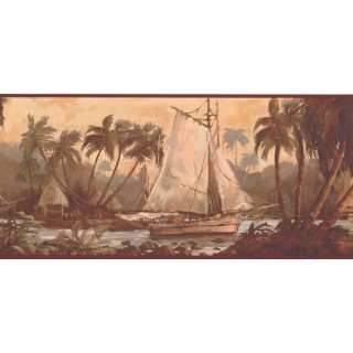 9 in x 15 ft Prepasted Wallpaper Borders - Ship Wall Paper Border TG2109B