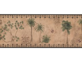 Prepasted Wallpaper Borders - Palm Tree Wall Paper Border TG2131B