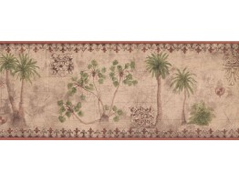 Prepasted Wallpaper Borders - Palm Tree Wall Paper Border TG2132B