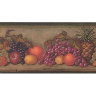 10 1/4 in x 15 ft Prepasted Wallpaper Borders - Fruits Wall Paper Border TK6202B