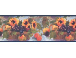 Prepasted Wallpaper Borders - Sunflower and Fruits Wall Paper Border TK6231B
