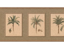 Prepasted Wallpaper Borders - Palm Tree Wall Paper Border TK6246B