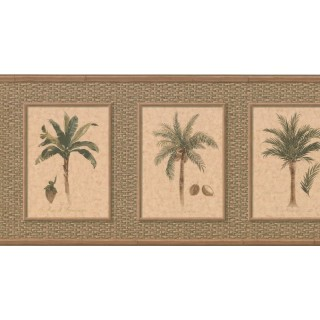 10 1/4 in x 15 ft Prepasted Wallpaper Borders - Palm Tree Wall Paper Border TK6246B