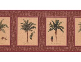 Prepasted Wallpaper Borders - Palm Tree Wall Paper Border TK6248B