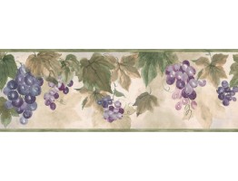 7 in x 15 ft Prepasted Wallpaper Borders - Grape Fruits Wall Paper Border TK6412B