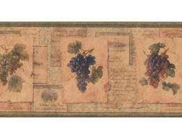 Prepasted Wallpaper Borders - Grapes Wall Paper Border TK6468B