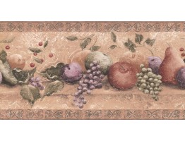 10 1/4 in x 15 ft Prepasted Wallpaper Borders - Fruits Wall Paper Border TT5265B