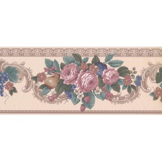 8 1/8 in x 15 ft Prepasted Wallpaper Borders - Floral Wall Paper Border VS100304