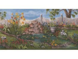 Prepasted Wallpaper Borders - Garden Wall Paper Border WE672B