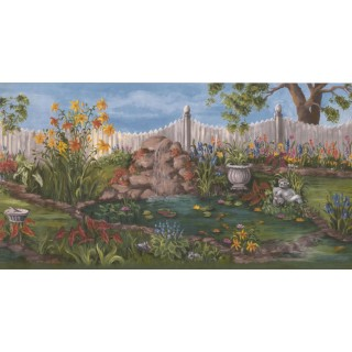 10 1/2 in x 15 ft Prepasted Wallpaper Borders - Garden Wall Paper Border WE672B