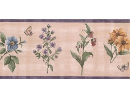 Prepasted Wallpaper Borders - Floral Wall Paper Border WFP8036