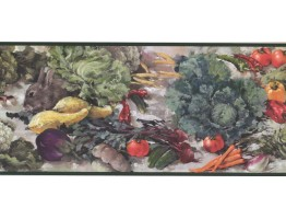 Prepasted Wallpaper Borders - Vegetables and Rabbit Wall Paper Border WK2123B