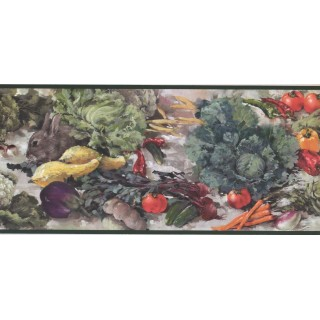 9 in x 15 ft Prepasted Wallpaper Borders - Vegetables and Rabbit Wall Paper Border WK2123B