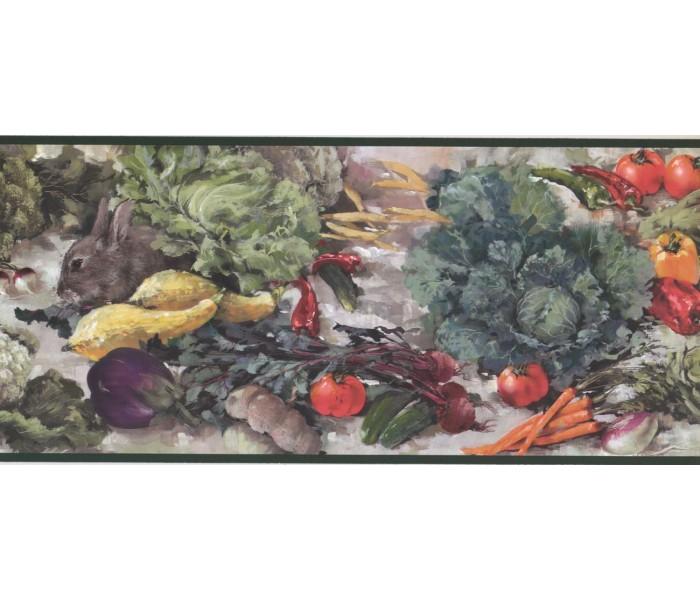 New  Arrivals Wall Borders: Vegetables and Rabbit Wallpaper Border WK2123B