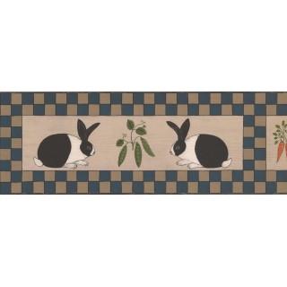 7 in x 15 ft Prepasted Wallpaper Borders - Rabbit Wall Paper Border WK74787