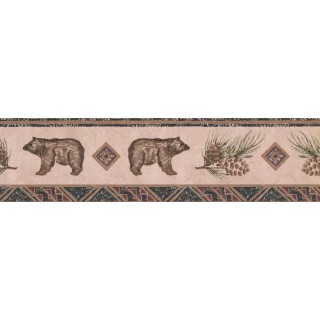 5 1/4 in x 15 ft Prepasted Wallpaper Borders - Bear Animal Wall Paper Border WL5564B