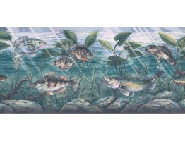 9 in x 15 ft Prepasted Wallpaper Borders - Fish Wall Paper Border WPN1081