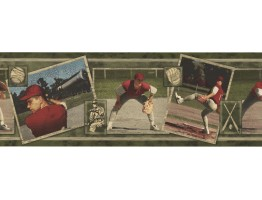 7 in x 15 ft Prepasted Wallpaper Borders - Baseball Wall Paper Border WS105