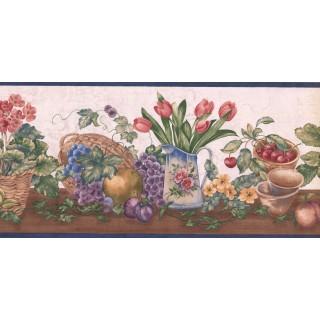 9 1/2 in x 15 ft Prepasted Wallpaper Borders - Garden Wall Paper Border ZK60182B