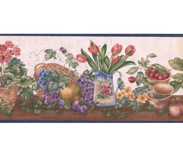 Prepasted Wallpaper Borders - Garden Wall Paper Border ZK60182B