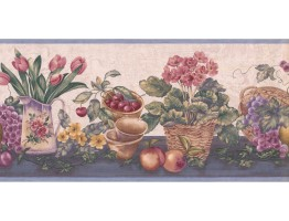 Prepasted Wallpaper Borders - Garden Wall Paper Border ZK60184B