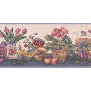 9 1/2 in x 15 ft Prepasted Wallpaper Borders - Garden Wall Paper Border ZK60184B