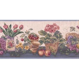 9 1/2 in x 15 ft Prepasted Wallpaper Borders - Garden Wall Paper Border ZK60184B