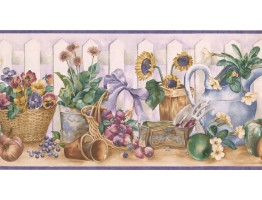 Prepasted Wallpaper Borders - Garden Wall Paper Border ZK60191B